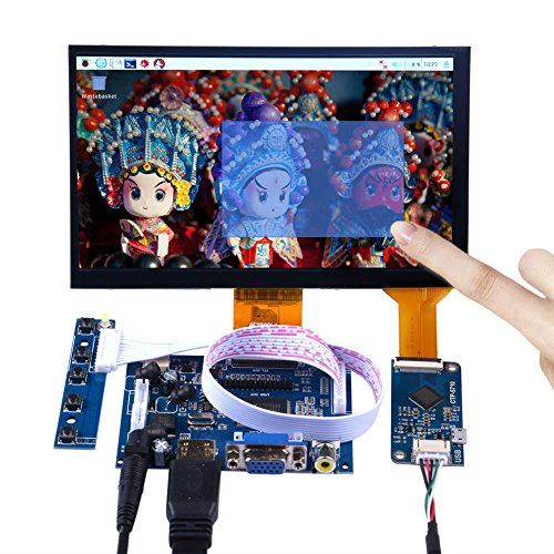 GeeekPi 7 Inch 1024x600 Capacitive Touch Screen LCD Display HDMI Monitor DIY Kit for Raspberry Pi/Beagle Bone Black/PC/MacBook ()