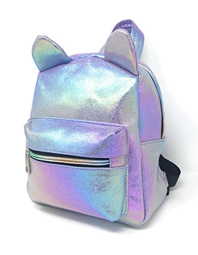 - Holographic Mini Backpack for Girls, Teens & Women: Cute Metallic Iridescent Kitty Cat Backpack Purse (Purple)