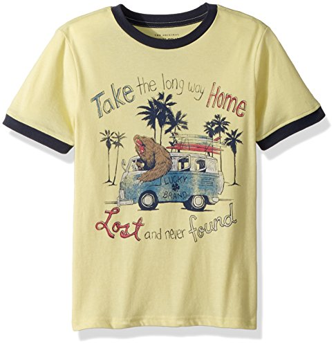 Lucky Brand Big Boys' Short Sleeve Graphic Tee Shirt, Custard Heather Take me Hombre, X-Large (18/20)