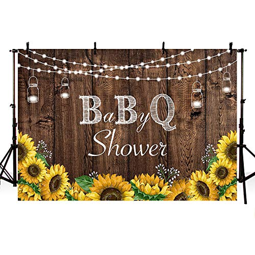 MEHOFOTO 7x5ft Baby-Q Photography Backdrops Rustic Wood Co-ed BBQ Baby Shower String Lights Party Yellow Sunflowers Mason Jar Background Banner for Picture Photo Studio Decoration (Bun In The Oven Baby Shower Theme)