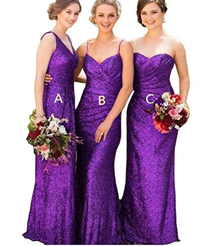 FTBY Women's Long Chiffon Bridesmaid Dress Sequin Evening Dress Wedding Dress SequinPurple-C-6