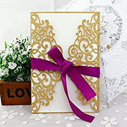 50-Pcs Exquisite Carving Wedding Invitation Kits with Silk Ribbon, Gold