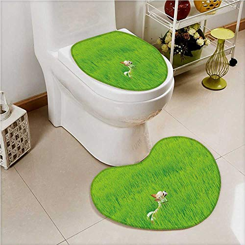 aolankaili 2 Piece Bathroom Mat Set Playful Chihuahua Puppy Dog in The Grass Pet Friend Fern Green Cream Absorbent Cover