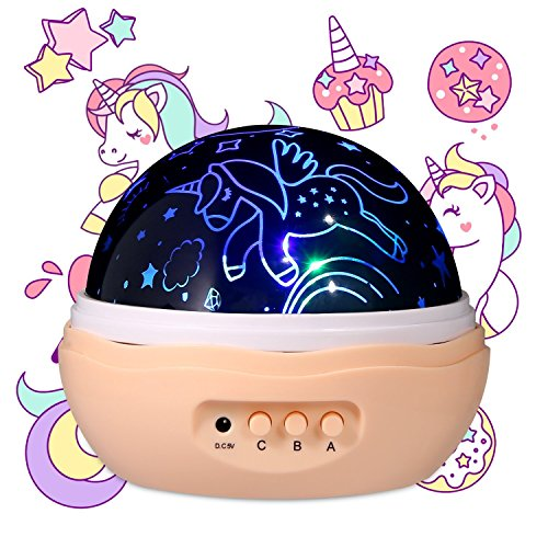 Light Age Covers Switch (MINGKIDS NEWEST Night light Girls,Unicorn Projector for Girls,4 LED Bulbs 8 Modes Projector Lamp and Rotation,Running Unicorns Stars Projector for Baby,Girl Gifts)