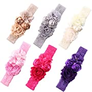Baby Girls Headband Chiffon Flower Lace Turban Head Wrap With Pearl Newborn Hair Accessories (6 color package B)