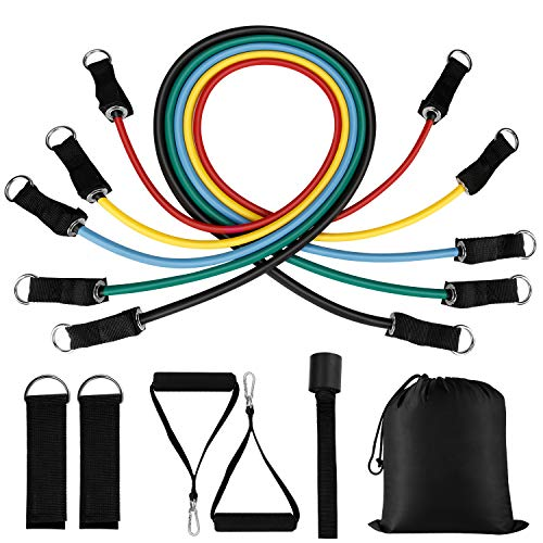 BESTOPE Resistance Bands Set 11 Pcs Exercise Bands, 5 Fitness Stackable Workout Tubes Up to 100 lbs with Handles Ankle Straps Door Anchor Carry Bag for Men Women Home Gym Training