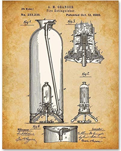 Fire Extinguisher - 11x14 Unframed Patent Print - Makes a Great Gift Under $15 for Firemen ()