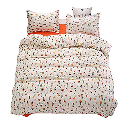 Smell Flower, Pink Full 70 x86  KFZ Bed Set (Twin Full Queen King Size) [4 Piece  Duvet Cover, Flat Sheet, 2 Pillow Cases] No Comforter by Flower Garden Season Leaves Design for Kids Adults Teens (Shary Garden, Green, King 86 x94 )