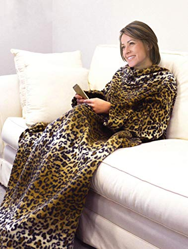 Deluxe Fleece Blanket with Sleeves and Pockets, Super Soft Stylish Microplush Home Sofa Wearable Throw Robe for Women and Men, Cheetah (Cheetah Print House Phone)