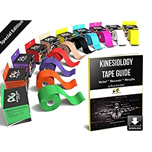 Physix Gear Sport Kinesiology Tape with Free Illustrated E-Guide – 16ft Uncut Roll – Best Pain Relief Adhesive for Muscles, Shin Splints, Knee & Shoulder – 24/7 Waterproof Therapeutic Aid