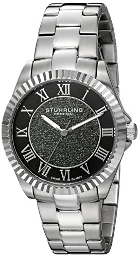 Stuhrling Original Women's 743.01 Audrey Shimmer Swiss Quartz Black Dial Watch