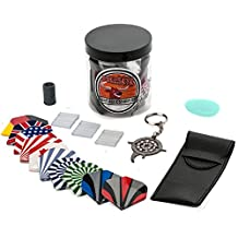 Bullseye Dart Accessory Kit in a Jar, for Steel Tip or Soft Tip Darts. Easy to Carry, Includes 30 Assorted Flights, Sharpener, Case, Wax, Repair Tool, Score Counter and more