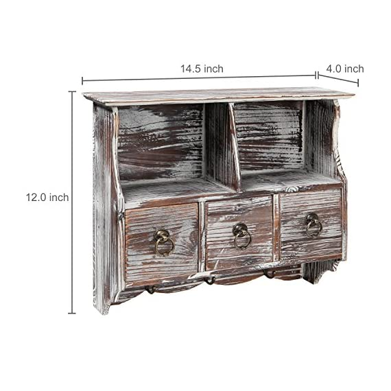 MyGift Country Rustic Torched Wood Wall-Mounted Organizer Shelf Rack/Wall Cabinet with Drawers & Metal Hooks - Add rustic charm to your living space with this multi-purpose wall mounted distressed brown wood shelf / cabinet. Features a full top shelf, 2 cupboard style recesses, 3 small pull-out drawers, and 3 metal hooks below for hanging keys, hats, aprons, towels, cooking utensils and more. Ideal for organizing and displaying picture frames, vases, and other cherished objects and decorations. - wall-shelves, living-room-furniture, living-room - 51ZcNnKTf4L. SS570  -
