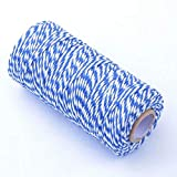 100M Wrap Gift Cotton Rope Ribbon Twine Rope Cord String Blue