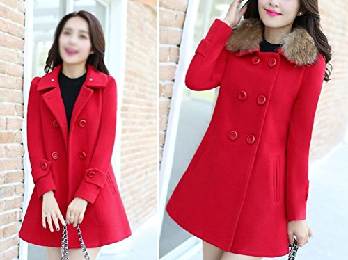 Casual chaquetas Larga cuello piel abrigos Rojo de con Gabardina parka sintético Mujer para 5w6nq4XpX