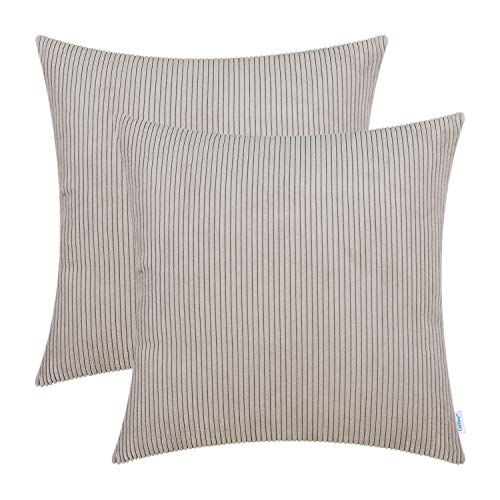 CaliTime Pack of 2 Cozy Throw Pillow Covers Cases for Couch Bed Sofa Ultra Soft Corduroy Striped Both Sides 18 X 18 Inches Simply Taupe