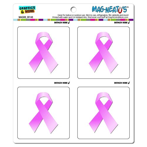 Graphics and More Breast Cancer Pink Support Awareness Ribbon Mag-Neato's Automotive Car Refrigerator Locker Vinyl Magnet Set