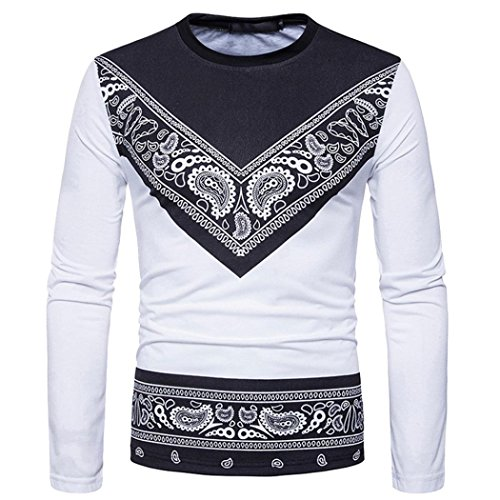 New Hot Sale!PASATO Men's Autumn African Print Long Sleeved Round Collar Sweatshirts Top Blouse(White,XXXL)