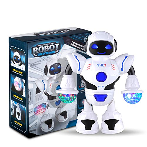 GEEDIAR Robot Toy, Electronic Walking Dancing LED Lighting Toy Robots Posable Arms with Colorful Lights Robotics for Kids ()
