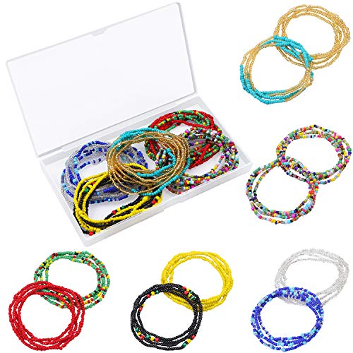 URATOT 10 Pieces Waist Bead Set Colorful Body Chain Belly Bead Summer Bikini Jewelry for Women,Girl (Color 1) (Glass Rectangular Bead Jewelry)