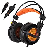 Franterd Sades USB 7.1 Surround A6 Stereo Pro Gaming Headphone w/Mic for PC Notebook