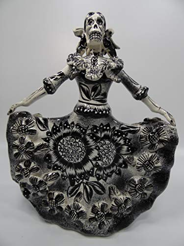 TALAVERA CATRINA in traditional DRESS, colorful mexican day of the dead figurine -