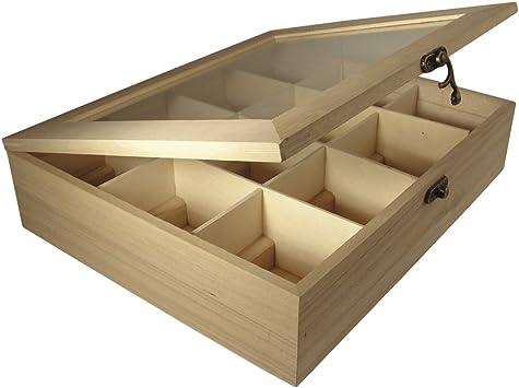 Rayher - Caja de Madera para bolsitas de té, 12 Compartimentos, 28,5 x 23,5 x 7 cm: Amazon.es: Hogar