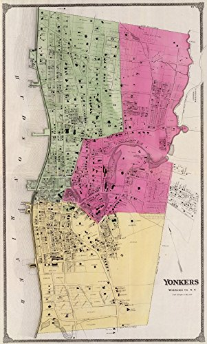 County Atlas Map, Yonkers, N.Y. 1868 | Historic Antique Vintage Map - Ny County Yonkers