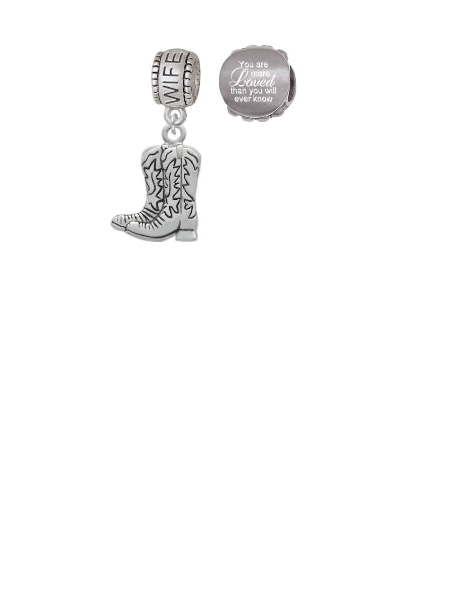 Cowboy Boots Wife Charm Bead with You Are More Loved Bead (Set of 2)