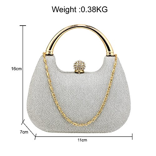 Ladies Box 2 Diamante Handbag For Glitter Hardcase Evening Silver Bag Club Wedding Women Clutch Party Crystal Design IqfRwSxX