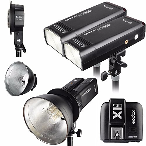 Godox 2pcs AD200 200Ws 2.4G TTL Flash Strobe Kit + X1T-S + AD-B2 + Bowens Reflector w/ EACHSHOT Cleaning Cloth for Sony by Godox