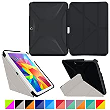"roocase Samsung Galaxy Tab 4 10.1 Case - Origami 3D [Granite Black / Cool Gray] Slim Shell 10.1-Inch 10.1"" Smart Cover with Landscape, Portrait, Typing Stand"