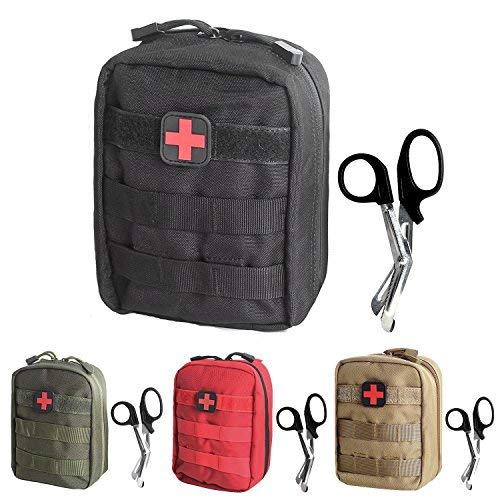 Utility Kit Bag - Tactical MOLLE EMT Medical First Aid IFAK Utility Pouch Bag (Black with First Aid Patch)
