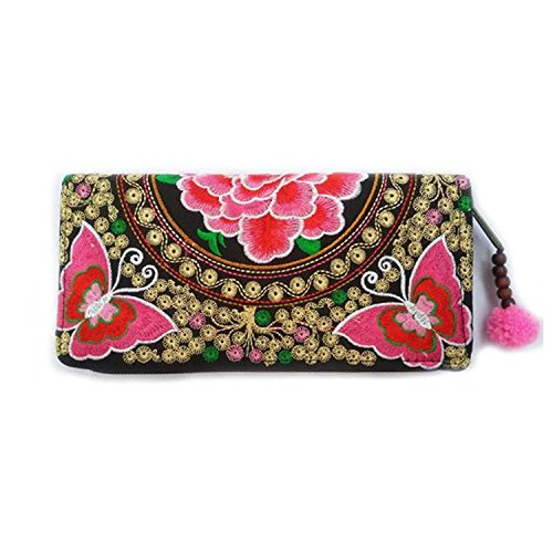 Embroidery Hill Tribal Handbags Women Thai Traditional Pattern Butterfly Pink lady Original By Homesures