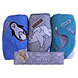 hooded towel 3 pack - Boys, Wild Animal Design, Hooded Baby Bath Infant Towel Set, 3 Pack Knit Terry, Frenchie Mini Couture (multi)