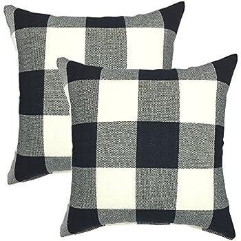 YOUR SMILE Retro Farmhouse Tartan Plaid Cotton Linen Decorative Throw Pillow Case Cushion Cover Pillowcase for Sofa 18 x 18 Inch , Set of 2 , Black / White