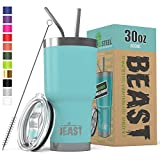 BEAST 30 oz Teal Tumbler Stainless Steel Insulated Coffee Cup with Lid, 2 Straws, Brush & Gift Box by Greens Steel (30oz, Aquamarine Blue)