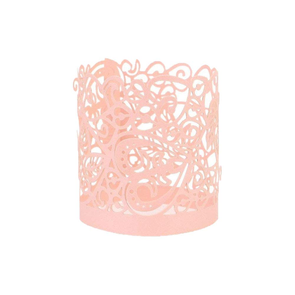 Asenart Flameless Tea Light Votive Wrap Candle Holder Set (50 Pack) for LED Battery Tealight Candles (Not Included) (Pink)