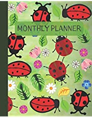 """Monthly Planner: Little Ladybug Cover 8x10"""" 120 Pages/60 Month Checklist Planning Undated Organizer & Journal - Christmas Gifts"""