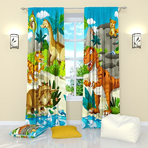 "Curtains for Kids Room by factory4me Cute dinosaurs. Panel (Set of 2) Window Curtains Drapes Nursery W84"" x L84"""