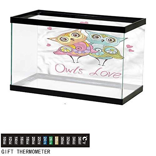 bybyhome Fish Tank Backdrop Animals,Lover Bird Owl Couple Heart,Aquarium Background,24