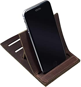 Hide & Drink, Leather Vertical Phone Stand, Fits (3 in.) Wide Devices/Smartphone/Station/Holder/Mobile Dock/Office Essentials/Accessories Desk, Handmade 101 Year Warranty :: Bourbon Brown