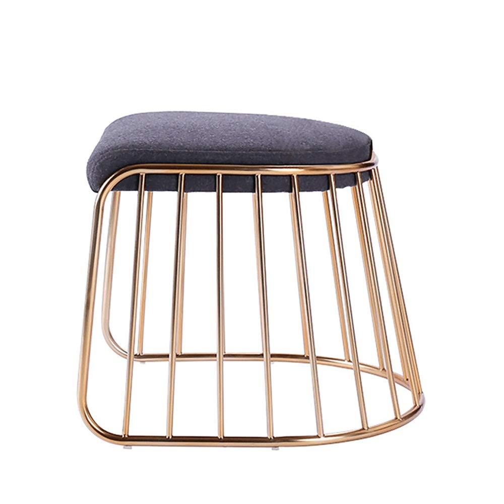 ZzheHou Dressing Hocker Make-up Hocker Nordic Artverfassung Dressing Hocker Hocker Movable Metallfuß Dining Chair Retro Frisierkommode Hocker (Farbe : Grau, Größe : Free Size)