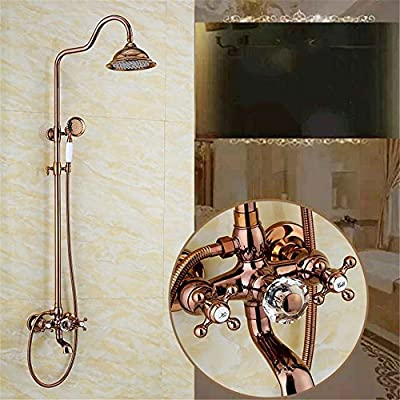 ETERNAL QUALITY Bathroom Sink Basin Tap Brass Mixer Tap Washroom Mixer Faucet Antique-brass faucets shower faucet kit wall mounted gold plated rain top Spray Shower grill white til