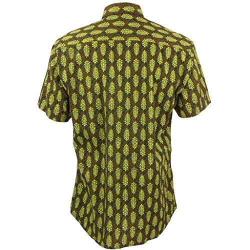 Loud Originals Regular Fit Hemd mit kurzen Ärmeln - grün Blätter