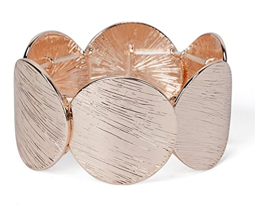 Small Circle Bracelet - SPUNKYsoul New! Disc Stretch Bracelet in Gold, Silver and Rose Gold for Women Collection (Small Rose Gold)