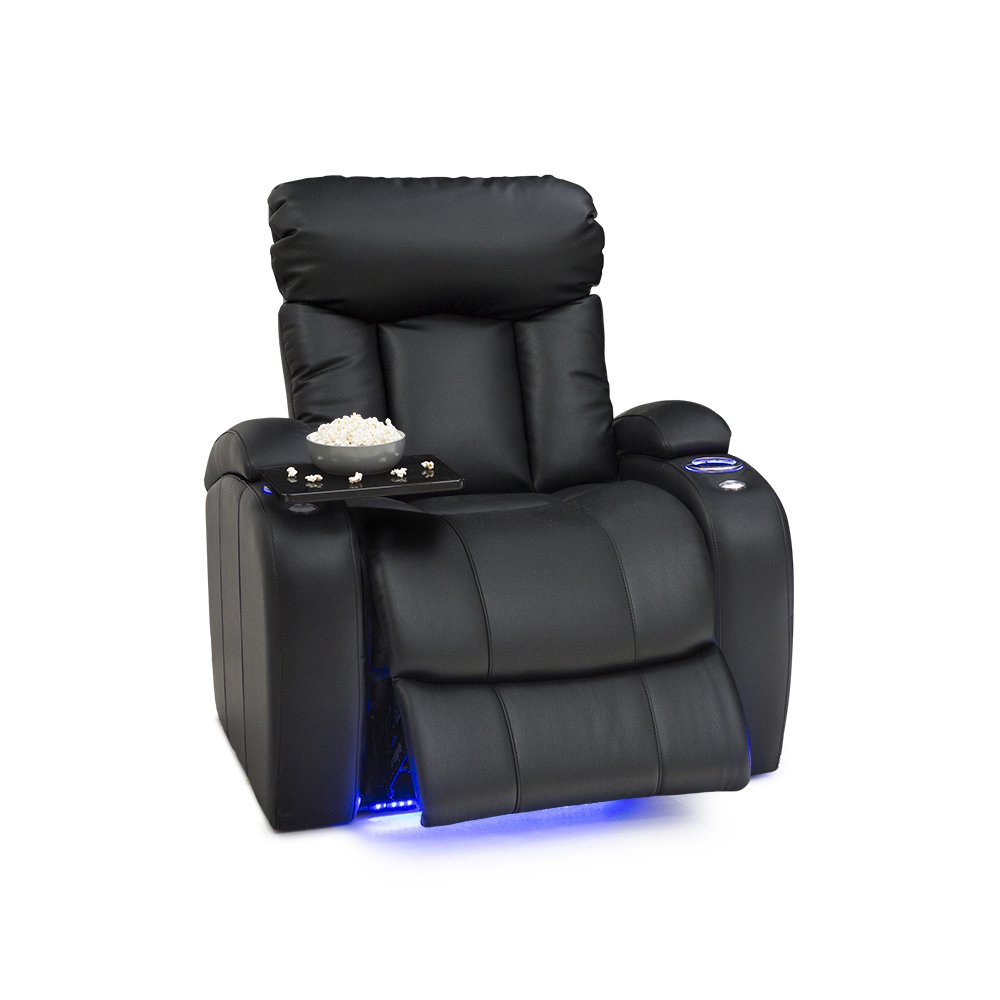 Seatcraft Orleans Leather Gel Manual Recliner with In-Arm Storage, and USB Charging, Black