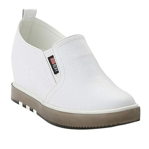 Yudesun Oculto Cuña Casual Caminar Zapatos - Cuero Mocasines Confort Zapatillas de Deporte Mujeres Entrenadores Moda Tobillo Plataforma Viajes Bombas: ...
