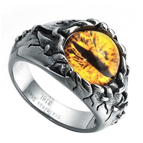 Ring Gemstone Dragon - HIJONES Men's Stainless Steel Gothic Biker Dragon Eye Ring Yellow Gem Stone, Vintage Size 8