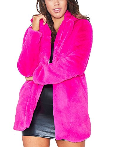 Real Fur Coat - Remelon Womens Long Sleeve Winter Warm Lapel Fox Faux Fur Coat Jacket Overcoat Outwear with Pockets (XX-Large, Rosy)